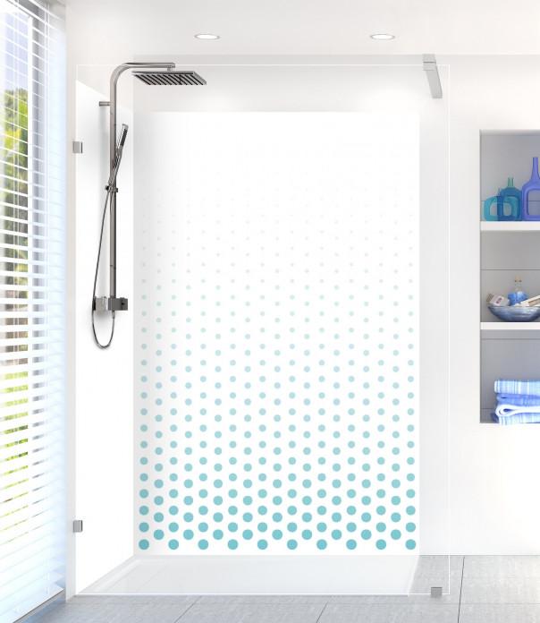 Panneau de douche Pluie de points couleur bleu lagon