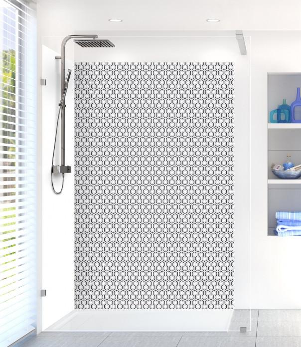 Panneau de douche Hexagones  couleur gris clair