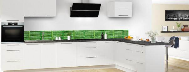 Crédence de cuisine Palissade de bambou vert dosseret en perspective