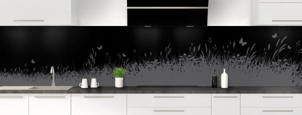 Crédence de cuisine Prairie et papillons couleur noir panoramique motif inversé