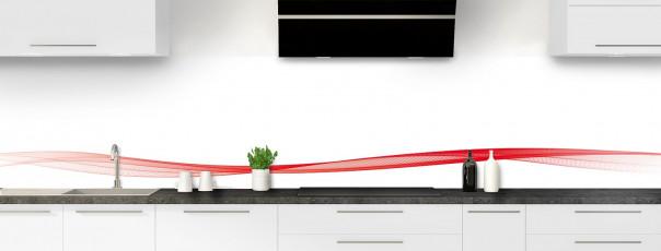 Crédence de cuisine Vague graphique couleur rouge vif dosseret motif inversé