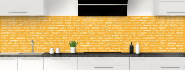 Crédence de cuisine Etapes de recette couleur abricot panoramique