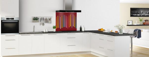 Crédence de cuisine Barres colorées couleur rouge pourpre fond de hotte en perspective
