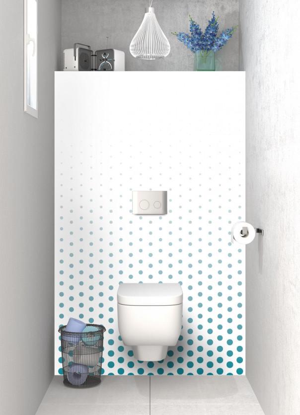Panneau WC Pluie de points couleur bleu canard