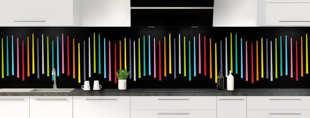 Crédence de cuisine Barres colorées couleur noir panoramique