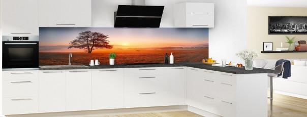 Crédence de cuisine Arbre à l'aube panoramique motif inversé en perspective