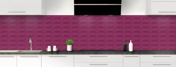 Crédence de cuisine Briques en relief couleur prune panoramique