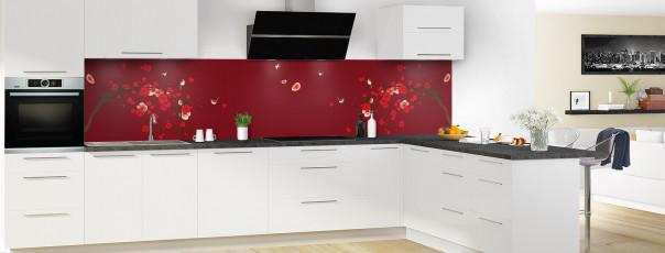 Crédence de cuisine Cerisier japonnais couleur rouge pourpre panoramique motif inversé en perspective