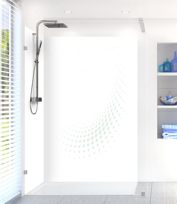 Panneau de douche Nuage de points couleur vert eau motif inversé