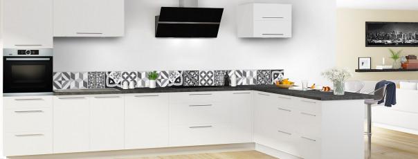 Crédence de cuisine Carreaux de ciment contemporain  Noir et Blanc dosseret en perspective