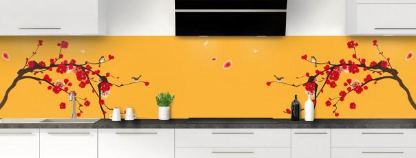 Crédence de cuisine Cerisier japonnais couleur abricot panoramique motif inversé