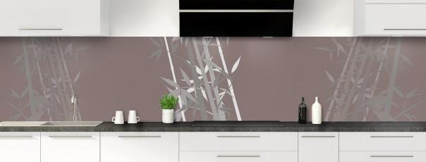 Crédence de cuisine Bambou zen couleur taupe panoramique motif inversé
