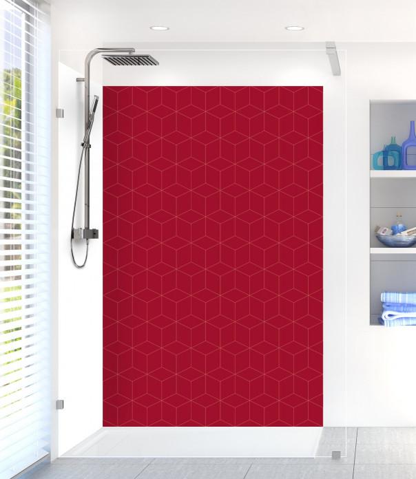 Panneau de douche Cubes en relief couleur rouge carmin