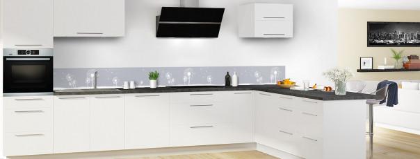 Crédence de cuisine Pissenlit au vent couleur gris métal dosseret motif inversé en perspective