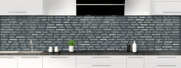 Crédence de cuisine Etapes de recette couleur gris carbone panoramique