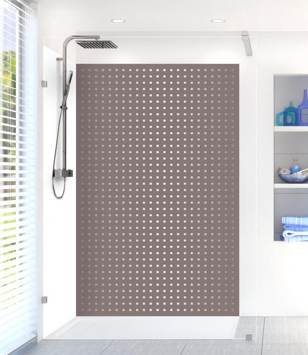 Panneau de douche Petits carrés couleur taupe