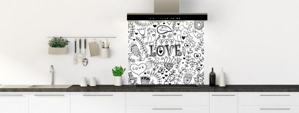 Crédence de cuisine Love illustration couleur blanc fond de hotte