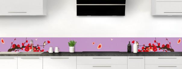 Crédence de cuisine Cerisier japonnais couleur parme dosseret motif inversé