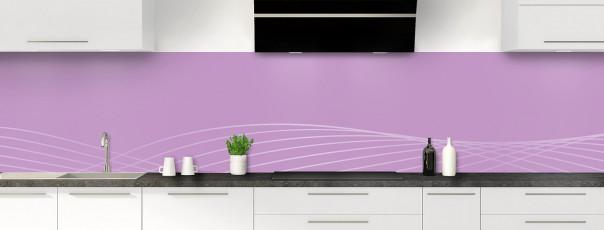 Crédence de cuisine Courbes couleur parme panoramique