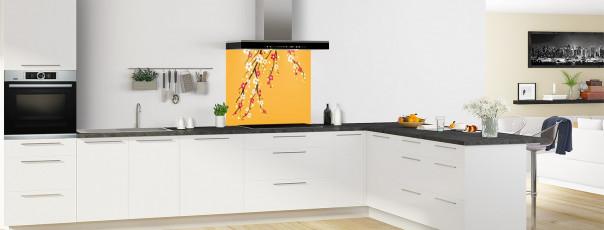 Crédence de cuisine Arbre fleuri couleur abricot fond de hotte motif inversé en perspective