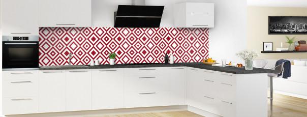 Crédence de cuisine Losanges vintage couleur rouge carmin panoramique en perspective