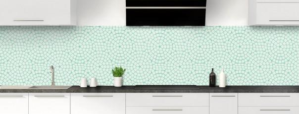 Crédence de cuisine Mosaïque cercles couleur vert eau panoramique