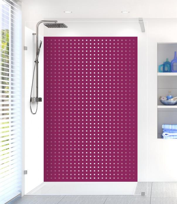 Panneau de douche Petits carrés couleur prune
