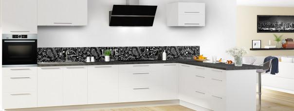 Crédence de cuisine Love illustration couleur noir dosseret en perspective