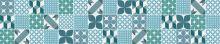 Crédence Carreaux de ciment patchwork gris bleu