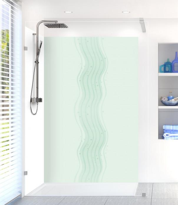 Panneau de douche Vagues design couleur vert eau