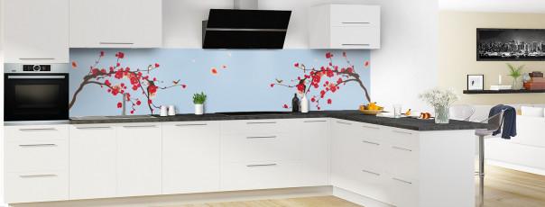 Crédence de cuisine Cerisier japonnais couleur bleu azur panoramique en perspective