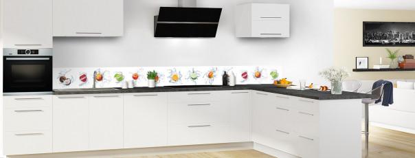 Crédence de cuisine Aqua et mix de fruits dosseret motif inversé en perspective