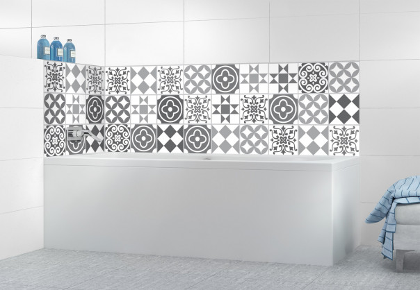 Panneau de bain Carreaux de ciment belle époque Gris
