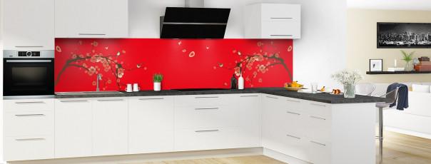 Crédence de cuisine Cerisier japonnais couleur rouge vif panoramique motif inversé en perspective