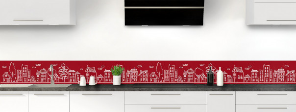 Crédence de cuisine Dessin de ville couleur rouge carmin dosseret