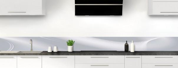 Crédence de cuisine Volute couleur gris métal dosseret motif inversé