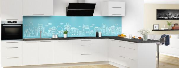Crédence de cuisine Dessin de ville couleur bleu lagon panoramique en perspective