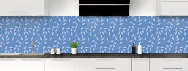Crédence de cuisine Rideau de feuilles couleur bleu lavande panoramique