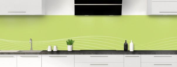 Crédence de cuisine Courbes couleur vert olive panoramique motif inversé