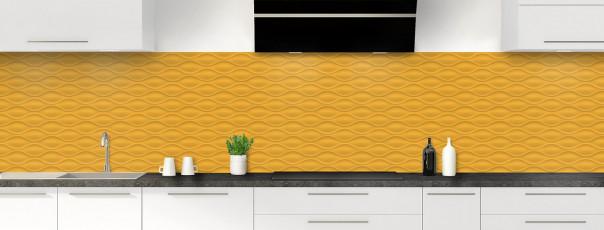 Crédence de cuisine Motif vagues couleur abricot panoramique