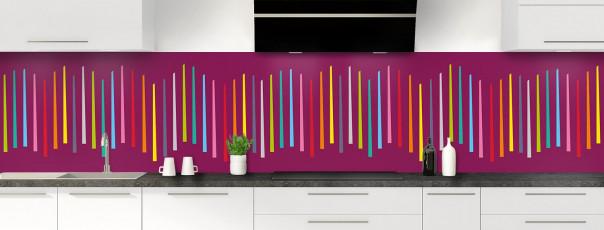 Crédence de cuisine Barres colorées couleur prune panoramique