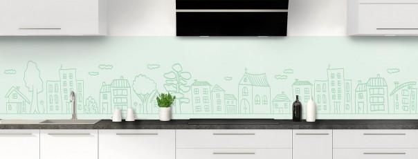 Crédence de cuisine Dessin de ville couleur vert eau panoramique