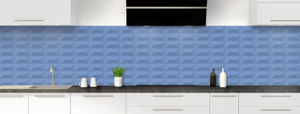 Crédence de cuisine Briques en relief couleur bleu lavande panoramique