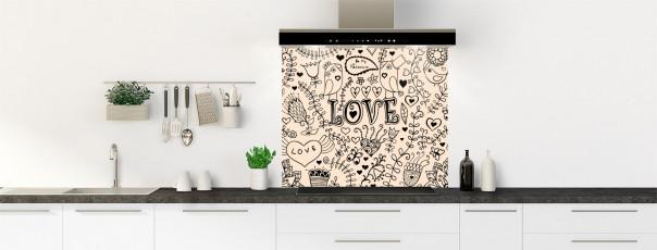 Crédence de cuisine Love illustration couleur sable fond de hotte