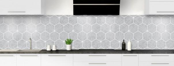Crédence de cuisine Carreaux de ciment hexagonaux gris panoramique