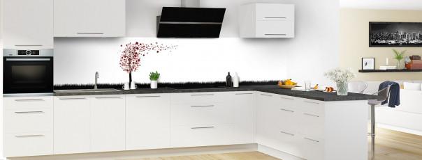Crédence de cuisine Arbre d'amour couleur rouge pourpre panoramique en perspective