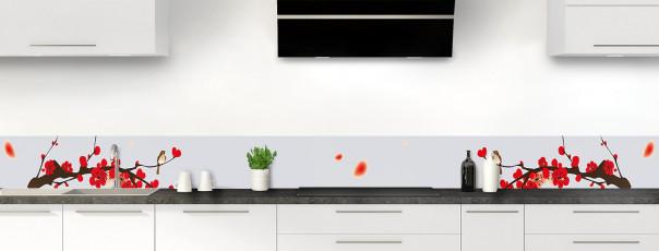 Crédence de cuisine Cerisier japonnais couleur gris clair dosseret motif inversé