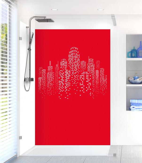 Panneau de douche Gratte-ciels couleur rouge vif motif inversé