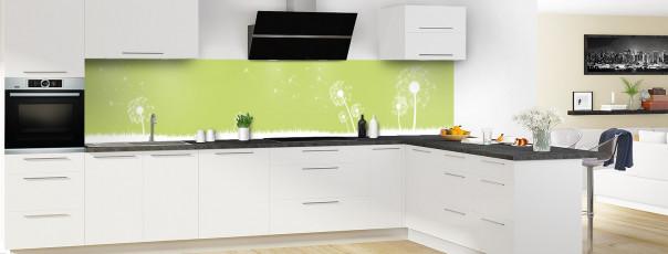 Crédence de cuisine Pissenlit au vent couleur vert olive panoramique motif inversé en perspective