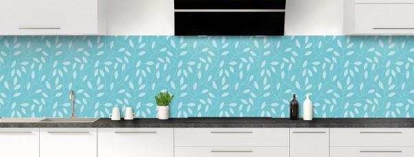 Crédence de cuisine Rideau de feuilles couleur bleu lagon panoramique